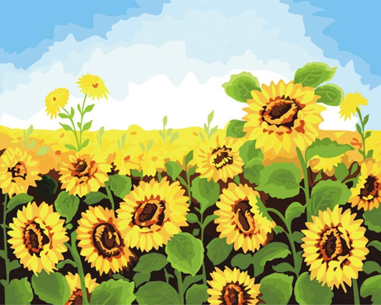 DIY Digital Painting Landscape Painting Painting Mural Painting Abstract Painting Plant Sunflower Frameless, 40x50cm