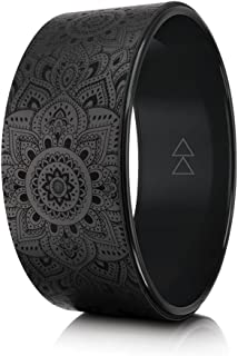 The Yoga Wheel by YOGA DESIGN LAB | Eco Printed, Extra Strength, Padded, Natural Cork Dharma Exercise Wheel | Designed in Bali | Enhance Your Postures and Stretch Deeper | 32cm x 13cm