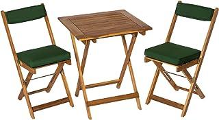 Deliano - Juego de mesa para balcón de madera de acacia (incluye cojines, plegables, 2 sillas y 1 mesa rectangular)