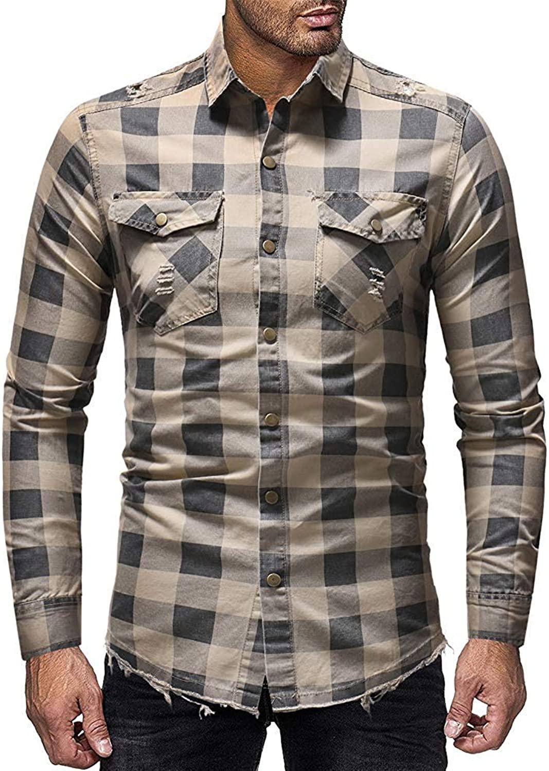 Men's Distressed Check Button Down Long Sleeves Denim Shirts