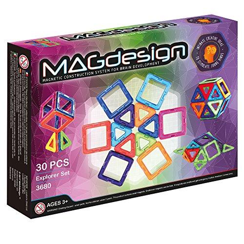 MAGdesign Set (30 Teile) Magnetische Bauklötze zur Förderung der Denkfähigkeit & Gehirnentwicklung