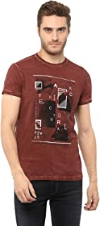 Mufti Rust Printed Half Sleeves T-Shirt