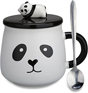 Funny Coffee Mug, Cute Ceramic Panda Mugs, Lovely Animal Tea Cups with 3D Panda Lid and Spoon, Best Gifts for Women, Mom, Kids,Family, Brothers and Friends, 14 Ounces