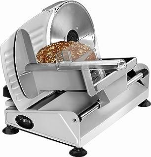 rebanadora Acero Inoxidable Cuchillo para cortar pan Cortafiambres eléctrica–Cortador de salchichas (ajustable cortar grosor 0–15mm, serrado, pie, cuchillo eléctrico)