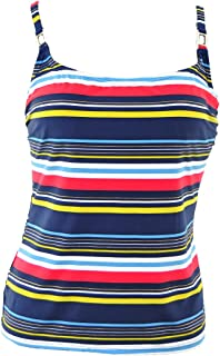 by Christina Nautical Navy Blue Striped D Cup Underwire Tankini Top, S