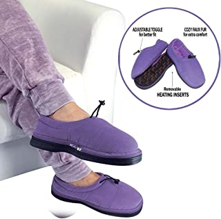 Thermo Shoes Microwavable Heating Pad by Nature Creation- Microwave Heated Foot Warmers for Men and Women - Perfect Heat Therapy Slippers for Cold Feet, Foot Pain, Sore or Tired Feet (Purple XL)
