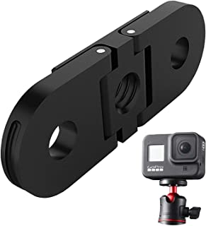 GoPro Hero9用 アルミ合金デュアル インターフェースベース | 1/4ネジマウント穴内蔵,アクセサリー 三脚・一脚マウン用,GoPro Hero8 対応