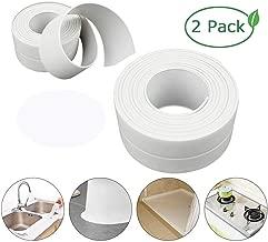 Caulk Strip,2 Pack PE Self Adhesive Sealing Tape Bathtub Waterproof Sealant Caulk Tape Toilet Bathroom Shower Kitchen and Wall Sealing Strip Trim 38mmx3.2m White