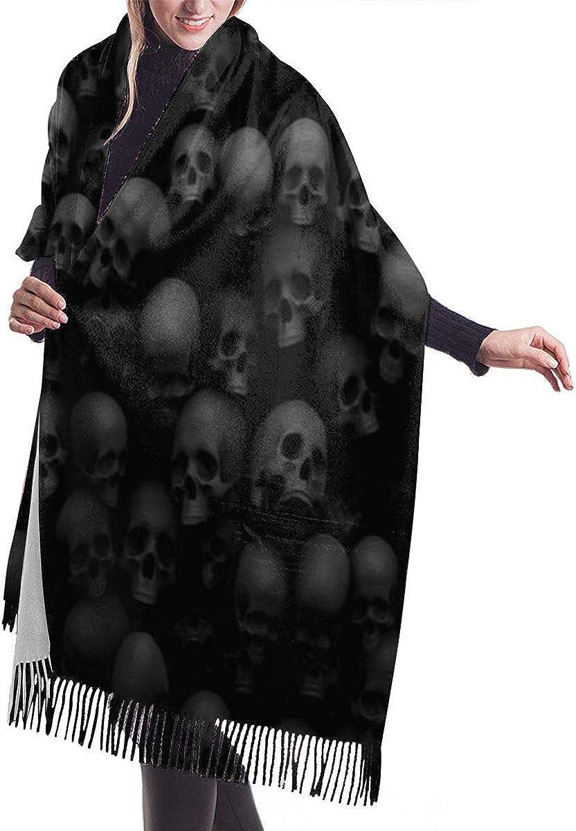 Women's Winter Multiple-Color Warm Scarf, Black Skull Head