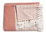Countryside Decorative Throws with Fringes - Primitive Cotton Geometric Patterned Blanket for Chair, Couch, Picnic, Camping, Beach, & Everyday Use - Orange - 50x60 Inches