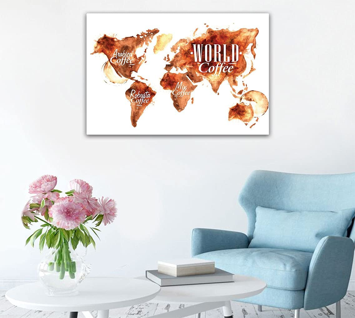 Coffee Art Deco Decal Sticker Alternative dealer World Mix G Max 40% OFF and Plants Map Robusta