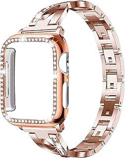 ZAALFC Caja de la Correa + Adecuado para el Reloj de Apple 5/4/3/2/1 Pulsera de Diamante de Cristal de Acero Inoxidable 38...