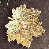Bandeja de almacenamiento de joyas para joyas, organizador de almacenamiento de platos, collares, pulseras y anillos (color: hoja dorada)