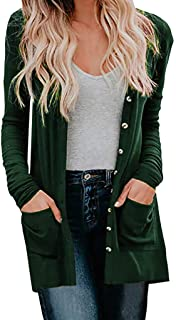 Womens Snap Button Down Pocketed Open Front Long Knited Cardigan Outerwear