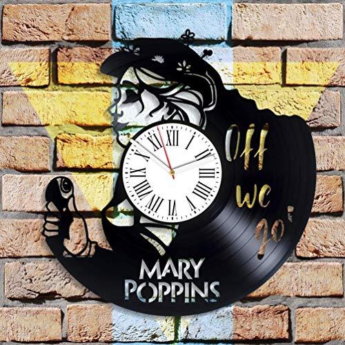 Reloj de pared Mary Poppins hecho a mano para guardería Mary Poppins de vinilo Walt Disney decoración de pared Mary Poppins vintage reloj grande año nuevo regalos