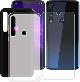 YZKJ [2 stycken skydd för Motorola G8 Plus skydd svart halvlätt mjuk silikon skyddande skydd TPU skal skal 1 x pansarglas ...