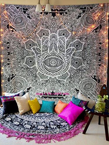raajsee Hamsa Fatima Goddess Tentures Murales Indiennes/Noir et Blanc Tapisserie Mandala Hippie/Psychedelique Bohemian Rideaux Orientale Decorations/Couvre lit Queen 210x220cms