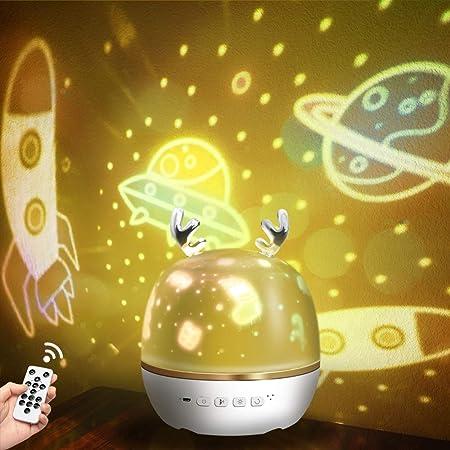 【令和進化版】Bluetooth対応&リモコン・タイマ付き ZEROTONE スタープロジェクターライト 星空ライト ベッドサイドランプ Bluetooth対応スピーカ 音楽再生 6種類投影映画フィルム プラネタリウム ロマンチック雰囲気作り スターナイトライト クリスマス/ハロウィン/パーテイー飾り/お子さん・彼女にプレゼント/誕生日ギフト 日本語説明書付き (鹿)