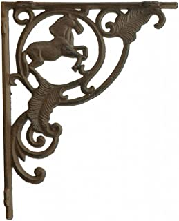 "Import Wholesales Wall Shelf Bracket Horse Brace Rust Brown Cast Iron Custom Shelves 8"" Deep"
