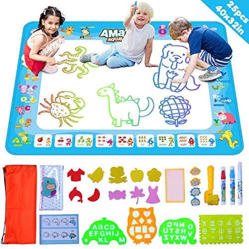 Akrobo Aqua Magic Doodle Mat 40 X 32 Inches Large Water Drawing Mat Coloring Painting Alphabet Cartoons Aqua Mat for Toddlers Kids Educational Toys Gifts for Boys Girls