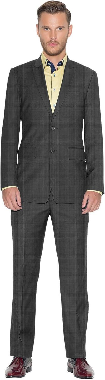 iTailor Men's Vintage 2-Button Peak Lapel Suit Dark Grey 58 Regular
