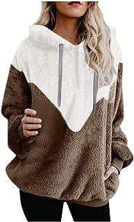 Sudadera para Mujer Pullover de Moda Sudadera con Capucha Jersey de Otoño Invierno Empalme Caliente Grueso Capa Chaqueta T...