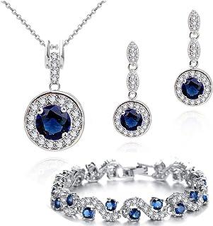 Zaffiro simulato Blu Cristalli austriaci di zirconi Rotondo Purare Collana con Ciondolo 45 cm Orecchini Bracciale 18 kt Pl...