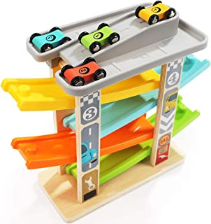 TOP BRIGHT Car Toys for 2 Year Olds Toddler Games Boy Gifts - Car Ramp Race Track Vehicle Playsets with 4 Wooden Cars & Garage