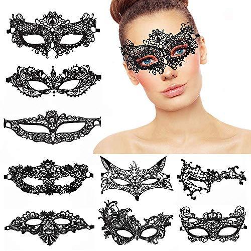 Masken Venezianische,9er Pack Lace Masquerade Masks Damen Frauen Mädchen Maskenspiel Venetian Gesichtsmaske für Weihnachten Party Maskenball Halloween Schwarz