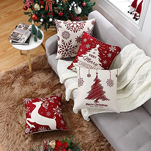 CAROMIO Christmas Cushion Covers Set of 4 Red Christmas...
