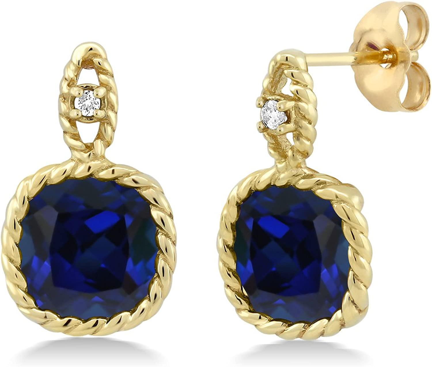 10K Yellow gold 5.00 Ct 8mm Cushion Simulated Sapphire & Diamond Cable Earrings