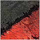 New Red Black Reversible Sequin Fabric by The Yard Mermaid Flip Up Shimmer Shiny Sequin Fabric for Pillow Case Sparkly Pillow Cover for Event/Wedding/Banquet
