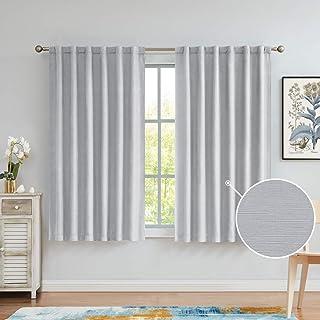 Variegatex Gray Blackout Curtains 63 Inches Length 2 Panels, Back Tab/Rod Pocket Solid Textured Light Blocking Short Windo...