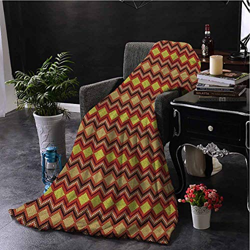 Luoiaax Tan and Brown Comfortable Large Blanket Knitting Themed Graphic Pattern with Zigzag Ornamental Chains and Warm Hues Microfiber Blanket Bed Sofa or Travel W70 x L90 Inch Multicolor