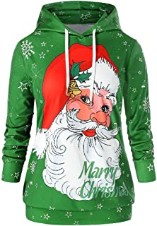 Womens Christmas Plus Size Lover Hooded Casual Santa Claus Letter Print Fashion Top Blouse Sweatshirt Coat