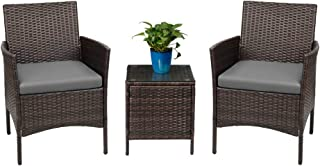 Devoko Patio Porch Furniture Sets 3 Pieces PE Rattan Wicker Chairs with Table Outdoor Garden Furniture Sets (Brown/Grey)
