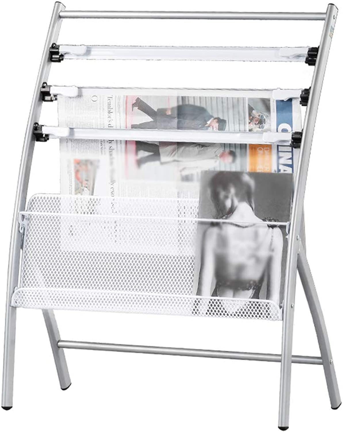 Newspaper Stand Aluminum Alloy Publicity Materials Floor Display Magazine Rack Lightweight and Portable (Size   63x36x81cm)