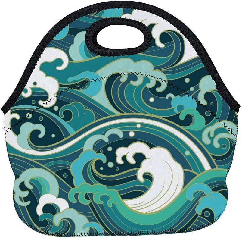Vantaso Neoprene Lunch Bag Tote Reusable Insulated Waterproof School Picnic Carrying Lunchbox Container Organize For Men, Women, Adults, Kids, Girls, Boys(Ocean Wind)
