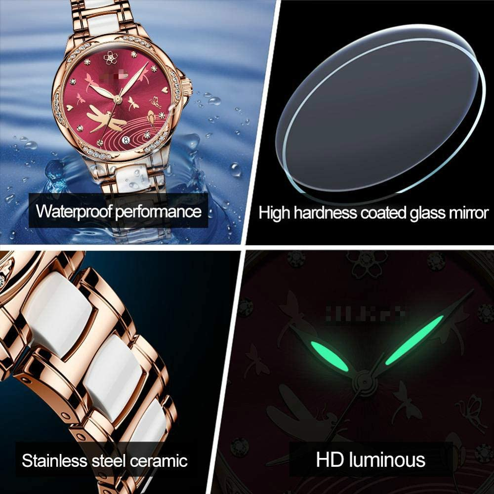 Nieuw Dameshorloge, Waterdicht Automatisch Mechanisch Dameshorloge, Keramisch Horloge, Cadeau Voor Vrouwen Rose wit