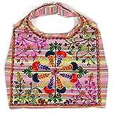 HAB & GUT -IB002A- INDIRA, Bolso de hombro indio para mujer, bolso de playa, tote bag 100% algodón,...