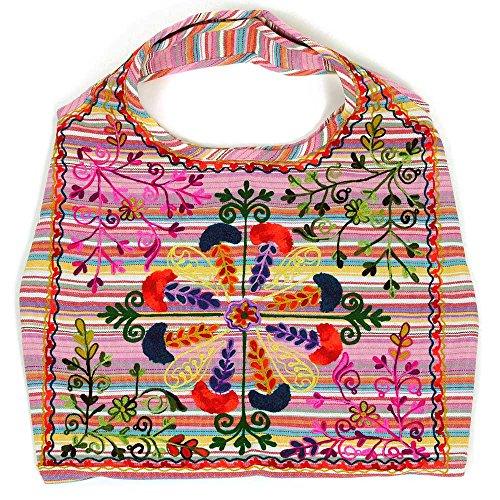 HAB & GUT -IB002A- INDIRA, Indische Damentasche, Schulterbeutel, Strandtasche, Tote bag, Streifen PASTELLTÖNE ROSA bunt bestickt