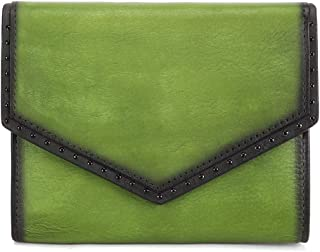 IVTG Genuine Leather Trifold Wallets for Women Vintage Handmade Small Purse (Green)