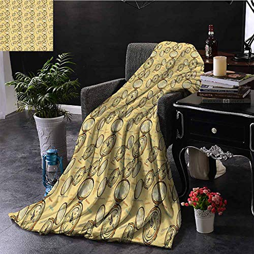 Compass Commercial Grade Printed Blanket London Moscow Paris Sydney Traveling Around The World Theme Illustration Queen King W70 by L84 Inch Mustard Multicolor