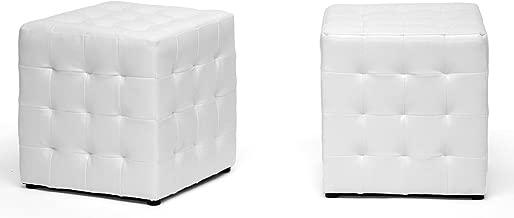 Baxton Studio Siskal Modern Cube Ottoman, White, Set of 2,