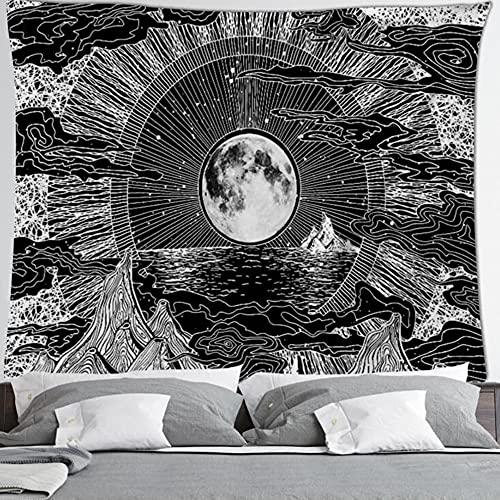 Tapiz de mandala blanco negro sol y luna tapiz tapices de pared tapiz de chismes tapiz hippie manta decorativa A11 73x95cm