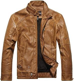 PinShang Man Leather Jacket Pure Color Fashion Stand Collar Brushed Man Jacket Khaki XXXL