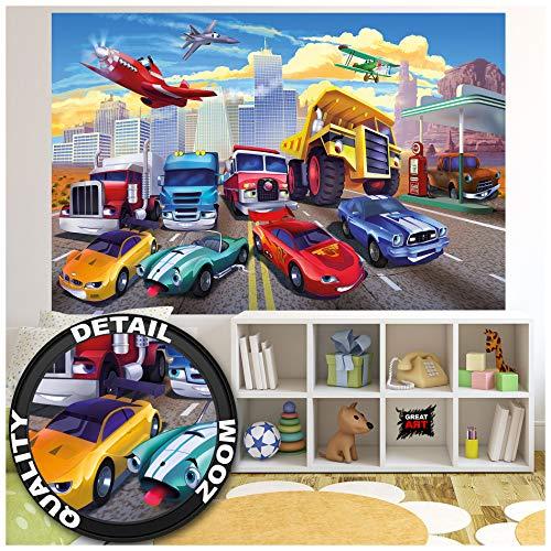 GREAT ART® XXL Poster Kinderzimmer – Autorennen – Wandbild Dekoration Flugzeug Cars Abenteuer Feuerwehr Sportwagen Auto Cabrio Comic Wandposter Fotoposter Wanddeko Bild (140 x 100 cm)