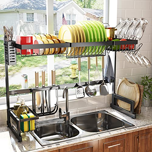 Over The Sink Dish Drying Rack Adjustable (Fit Sink Size from 32' to 40'), SAYZH 2 Tier Large Dish Rack Drainer Shelf Kitchen Organizer Storage Dryer Space Saver with Cup Holder Utensil Holder Black