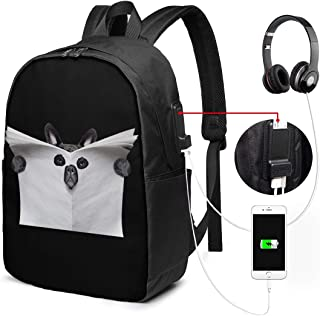 Bulldog in Blank Newspaper Travel Laptop Backpack,Business Anti Theft Slim Durable Laptops Backpack with USB Charging Port,Water Resistant College School Computer Bag for Women & Men
