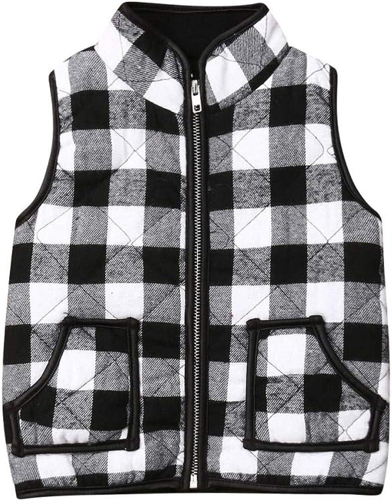 Toddler Baby Girl Bombing new work Boy Plaid OFFicial shop Jacket Sleeveless Christmas Coa Vest